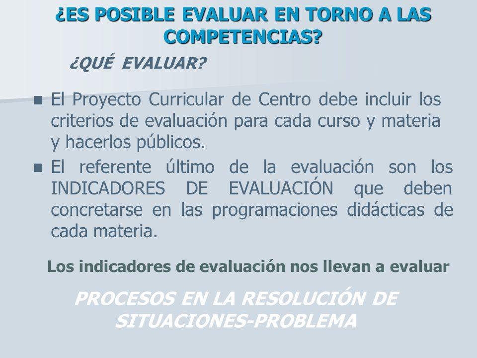 El referente último de la evaluación son los INDICADORES DE EVALUACIÓN que deben concretarse en las programaciones didácticas de cada materia. ¿QUÉ EV
