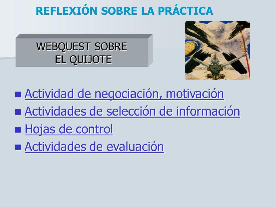 WEBQUEST SOBRE EL QUIJOTE REFLEXIÓN SOBRE LA PRÁCTICA Actividad de negociación, motivación Actividad de negociación, motivación Actividad de negociaci