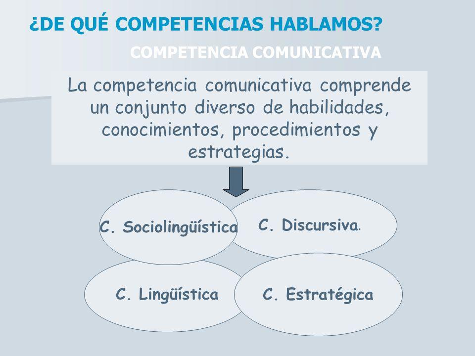 La competencia comunicativa comprende un conjunto diverso de habilidades, conocimientos, procedimientos y estrategias. ¿DE QUÉ COMPETENCIAS HABLAMOS?