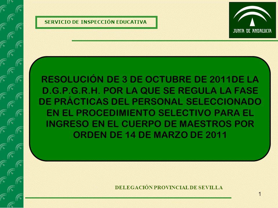 SERVICIO DE INSPECCIÓN EDUCATIVA DELEGACIÓN PROVINCIAL DE SEVILLA RESOLUCIÓN DE 3 DE OCTUBRE DE 2011DE LA D.G.P.G.R.H. POR LA QUE SE REGULA LA FASE DE
