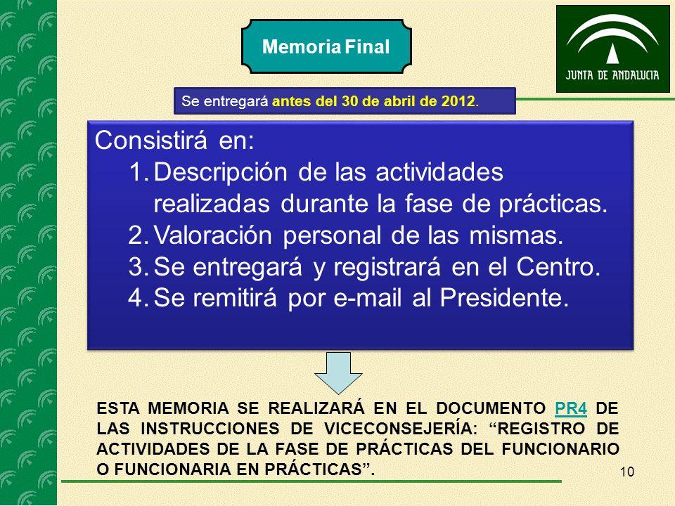 Memoria Final Se entregará antes del 30 de abril de 2012. Consistirá en: 1.Descripción de las actividades realizadas durante la fase de prácticas. 2.V