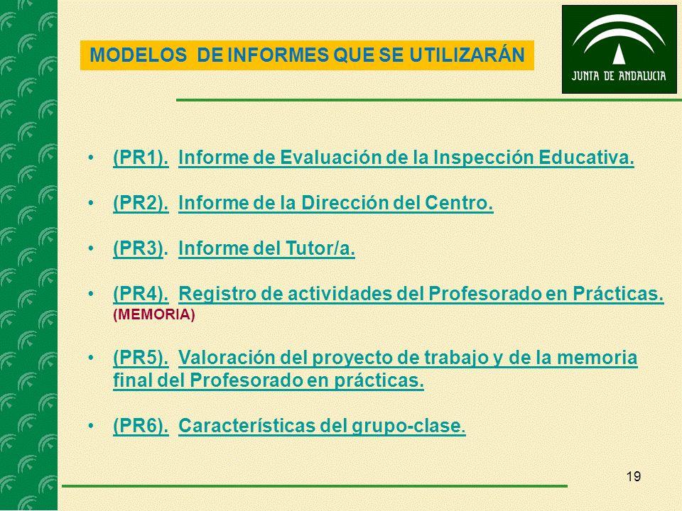 19 MODELOS DE INFORMES QUE SE UTILIZARÁN (PR1). Informe de Evaluación de la Inspección Educativa.(PR1).Informe de Evaluación de la Inspección Educativ