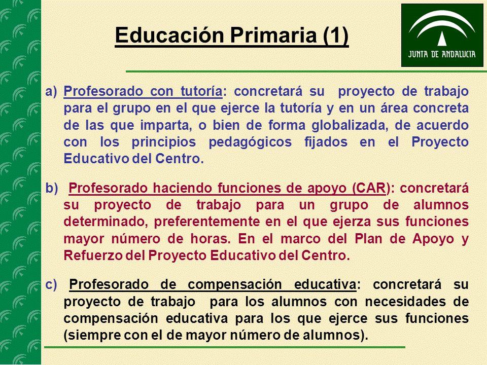 Educación Primaria (1) a)Profesorado con tutoría: concretará su proyecto de trabajo para el grupo en el que ejerce la tutoría y en un área concreta de
