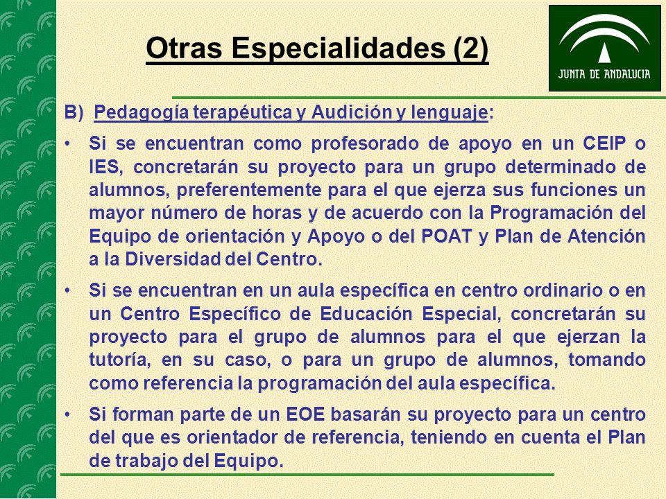 B) Pedagogía terapéutica y Audición y lenguaje: Si se encuentran como profesorado de apoyo en un CEIP o IES, concretarán su proyecto para un grupo det