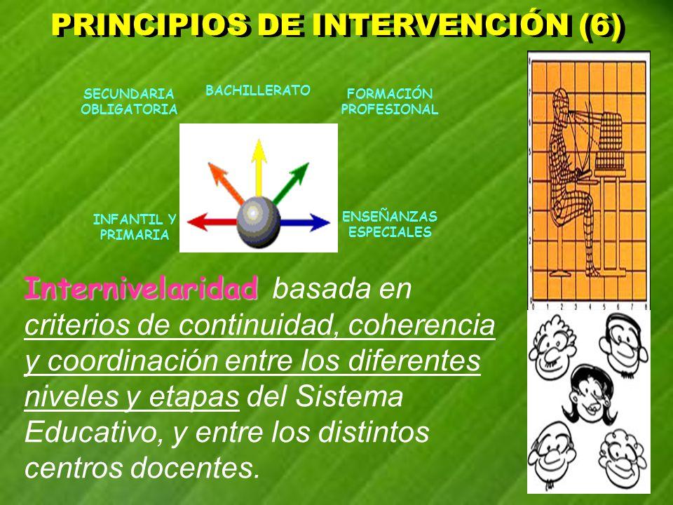 PRINCIPIOS DE INTERVENCIÓN (6) PRINCIPIOS DE INTERVENCIÓN (6) INFANTIL Y PRIMARIA BACHILLERATO SECUNDARIA OBLIGATORIA FORMACIÓN PROFESIONAL ENSEÑANZAS
