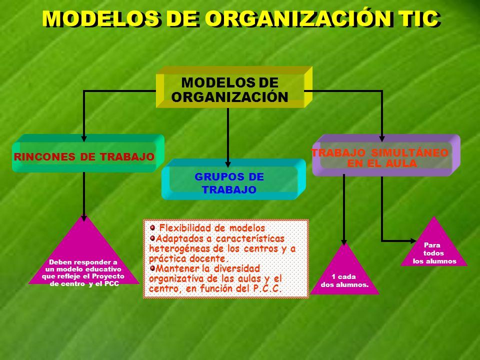 Flexibilidad de modelos Adaptados a características heterogéneas de los centros y a práctica docente. Mantener la diversidad organizativa de las aulas