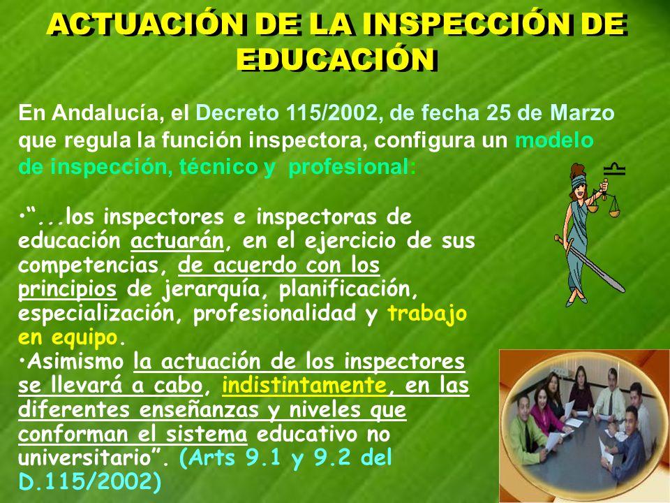 En Andalucía, el Decreto 115/2002, de fecha 25 de Marzo que regula la función inspectora, configura un modelo de inspección, técnico y profesional:...