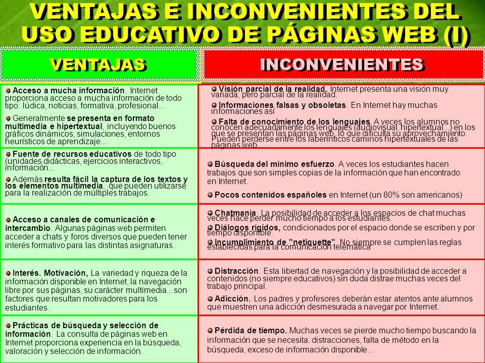 VENTAJAS E INCONVENIENTES DEL USO EDUCATIVO DE PÁGINAS WEB (I) VENTAJAS E INCONVENIENTES DEL USO EDUCATIVO DE PÁGINAS WEB (I) VENTAJAS INCONVENIENTES