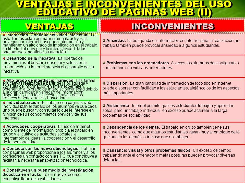 VENTAJAS E INCONVENIENTES DEL USO EDUCATIVO DE PÁGINAS WEB (II) VENTAJAS E INCONVENIENTES DEL USO EDUCATIVO DE PÁGINAS WEB (II) VENTAJAS INCONVENIENTE