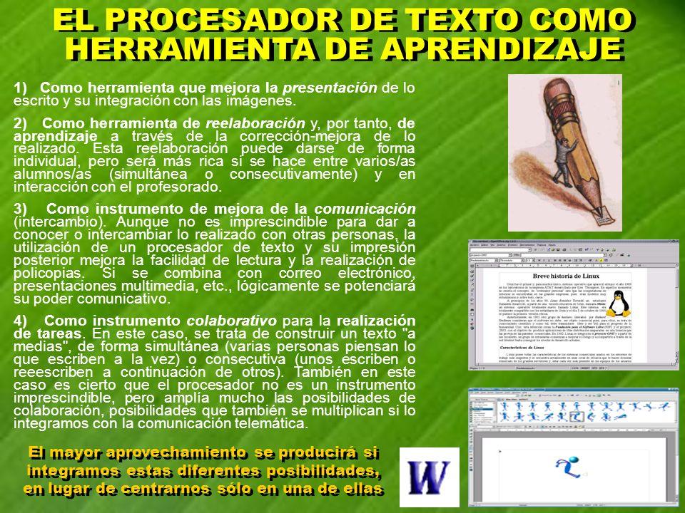 1) Como herramienta que mejora la presentación de lo escrito y su integración con las imágenes. 2) Como herramienta de reelaboración y, por tanto, de