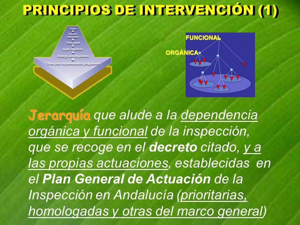PRINCIPIOS DE INTERVENCIÓN (1) PRINCIPIOS DE INTERVENCIÓN (1) Jerarquía Jerarquía que alude a la dependencia orgánica y funcional de la inspección, qu