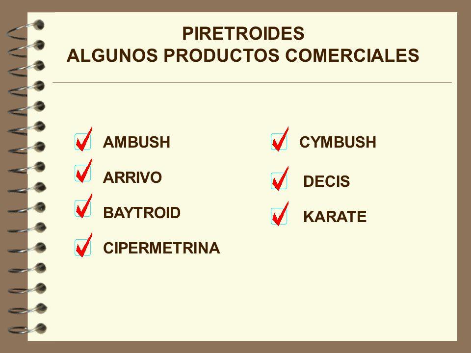 PIRETROIDES ALGUNOS PRODUCTOS COMERCIALES AMBUSH ARRIVO BAYTROID CIPERMETRINA CYMBUSH DECIS KARATE