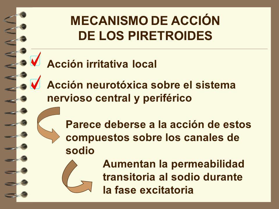 MECANISMO DE ACCIÓN DE LOS PIRETROIDES Acción neurotóxica sobre el sistema nervioso central y periférico Parece deberse a la acción de estos compuesto