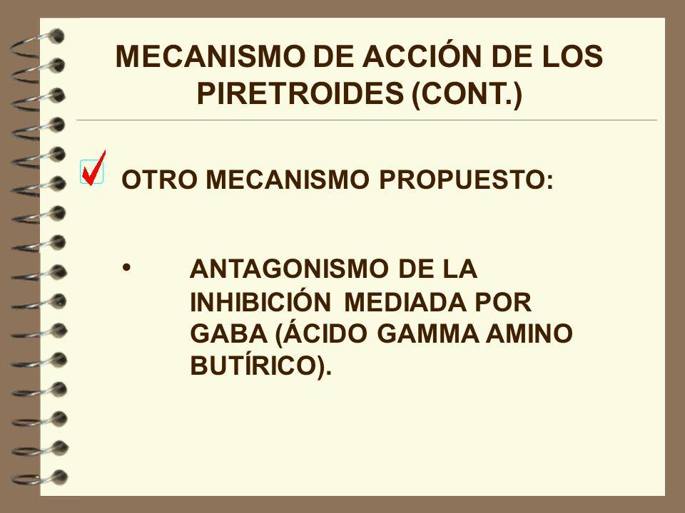 MECANISMO DE ACCIÓN DE LOS PIRETROIDES (CONT.) OTRO MECANISMO PROPUESTO: ANTAGONISMO DE LA INHIBICIÓN MEDIADA POR GABA (ÁCIDO GAMMA AMINO BUTÍRICO).