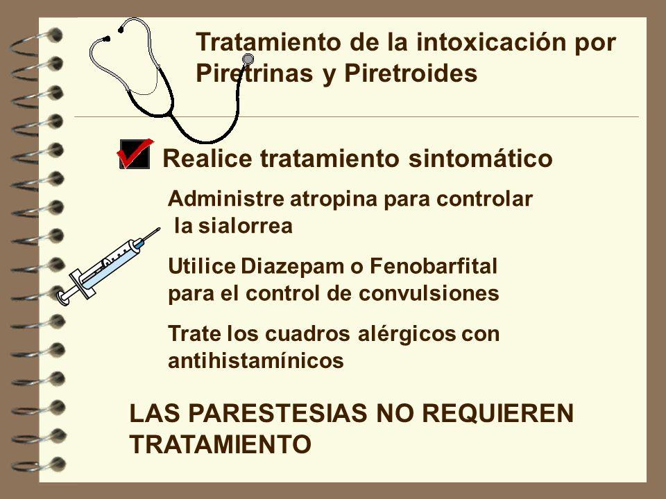 Tratamiento de la intoxicación por Piretrinas y Piretroides Realice tratamiento sintomático Administre atropina para controlar la sialorrea Utilice Di