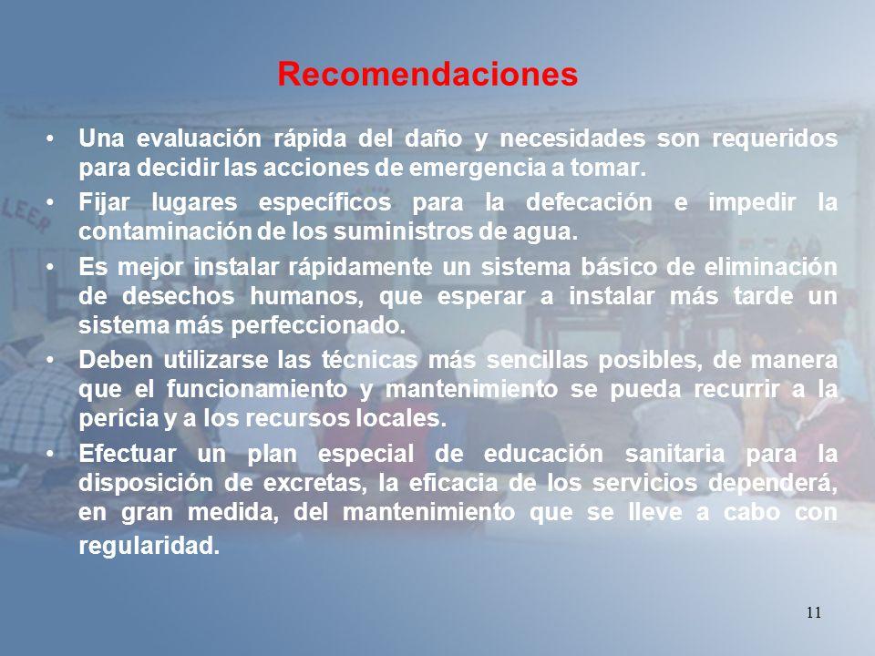 11 Recomendaciones Una evaluación rápida del daño y necesidades son requeridos para decidir las acciones de emergencia a tomar. Fijar lugares específi