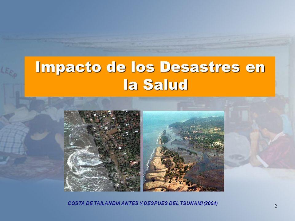 3 Las enfermedades que más se han presentado posterior a un desastre han sido: Transmisibles por agua y alimentos COLERA, INTOXICACIÓN ALIMENTARIA, FIEBRE TIFOIDEA.