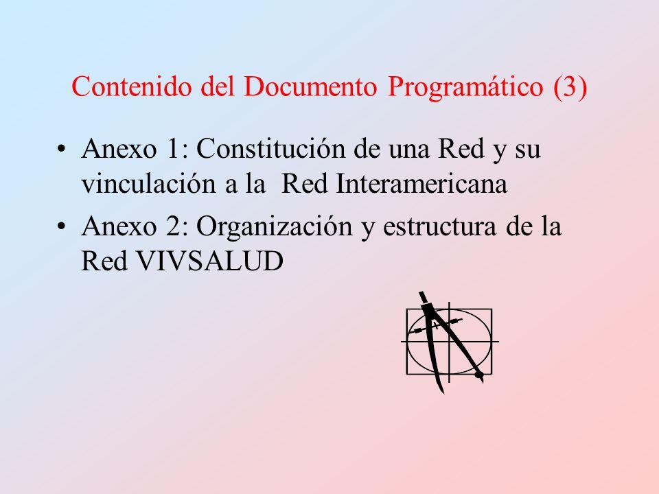 Contenido del Documento Programático (3) Anexo 1: Constitución de una Red y su vinculación a la Red Interamericana Anexo 2: Organización y estructura de la Red VIVSALUD
