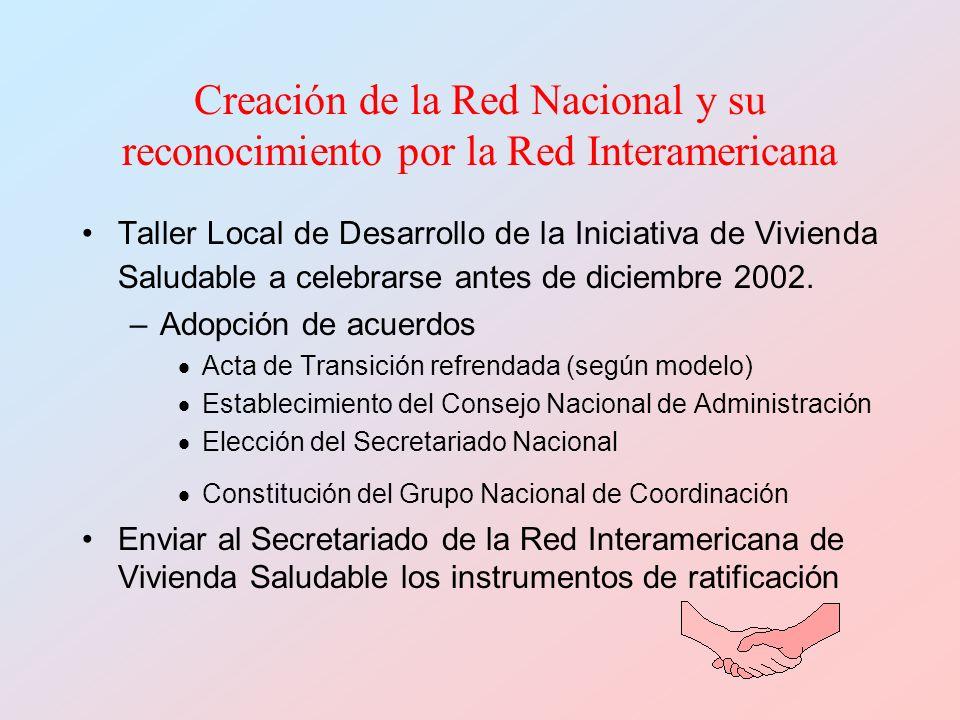 Creación de la Red Nacional y su reconocimiento por la Red Interamericana Taller Local de Desarrollo de la Iniciativa de Vivienda Saludable a celebrar