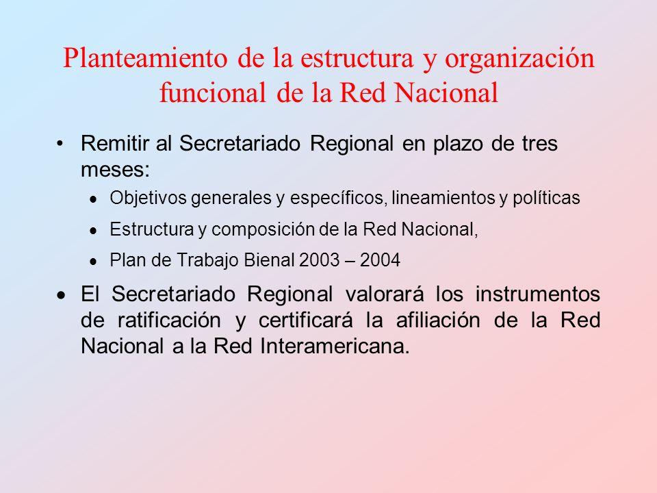 Planteamiento de la estructura y organización funcional de la Red Nacional Remitir al Secretariado Regional en plazo de tres meses: Objetivos generale