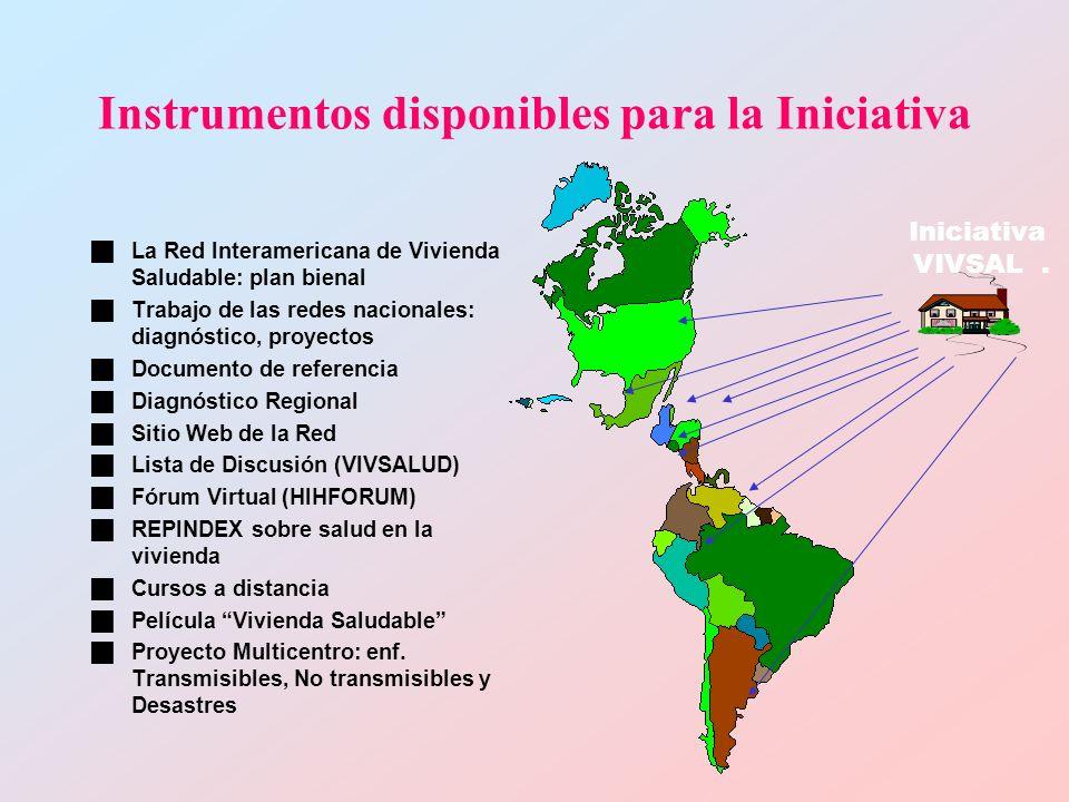 Instrumentos disponibles para la Iniciativa La Red Interamericana de Vivienda Saludable: plan bienal Trabajo de las redes nacionales: diagnóstico, proyectos Documento de referencia Diagnóstico Regional Sitio Web de la Red Lista de Discusión (VIVSALUD) Fórum Virtual (HIHFORUM) REPINDEX sobre salud en la vivienda Cursos a distancia Película Vivienda Saludable Proyecto Multicentro: enf.
