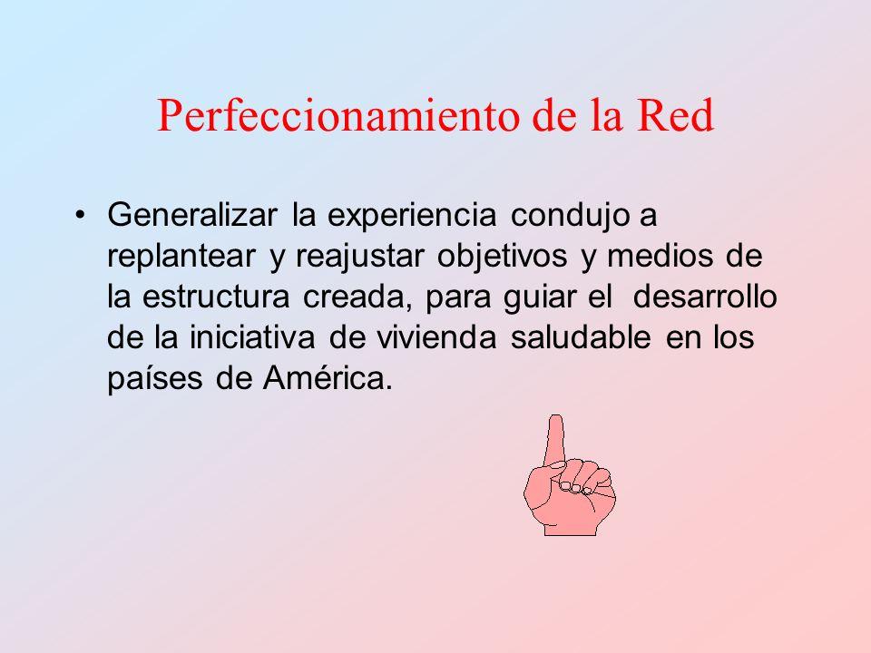 Perfeccionamiento de la Red Generalizar la experiencia condujo a replantear y reajustar objetivos y medios de la estructura creada, para guiar el desarrollo de la iniciativa de vivienda saludable en los países de América.