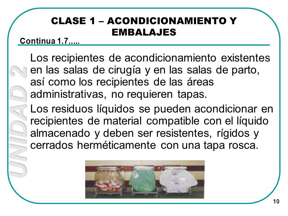 UNIDAD 2 10 CLASE 1 – ACONDICIONAMIENTO Y EMBALAJES Los recipientes de acondicionamiento existentes en las salas de cirugía y en las salas de parto, a