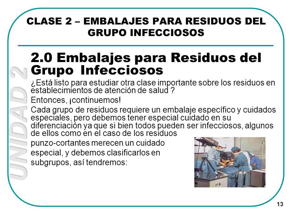 UNIDAD 2 13 CLASE 2 – EMBALAJES PARA RESIDUOS DEL GRUPO INFECCIOSOS 2.0 Embalajes para Residuos del Grupo Infecciosos ¿Está listo para estudiar otra c