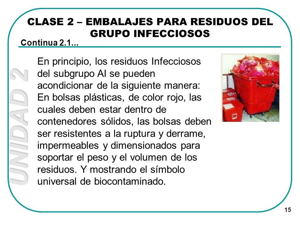 UNIDAD 2 15 CLASE 2 – EMBALAJES PARA RESIDUOS DEL GRUPO INFECCIOSOS Continua 2.1... En principio, los residuos Infecciosos del subgrupo AI se pueden a