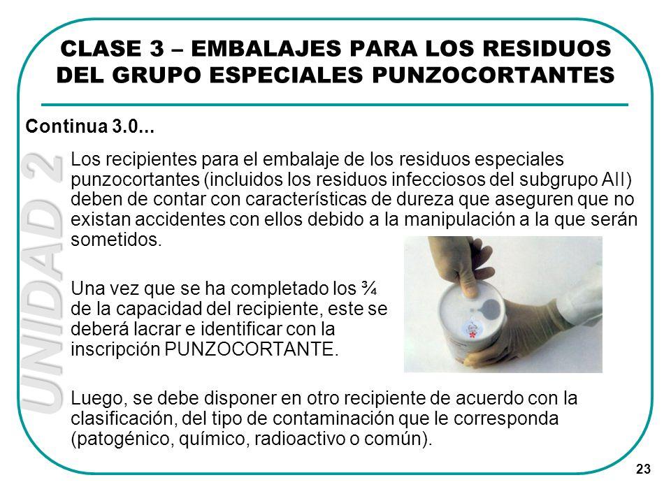 UNIDAD 2 23 Los recipientes para el embalaje de los residuos especiales punzocortantes (incluidos los residuos infecciosos del subgrupo AII) deben de