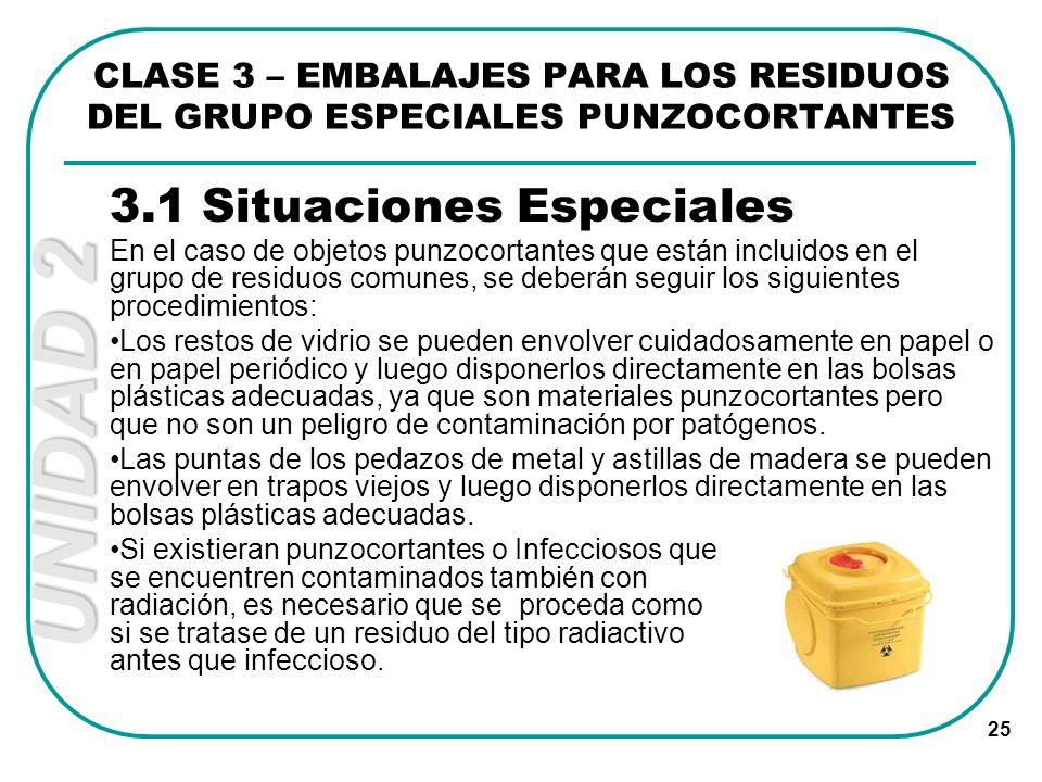 UNIDAD 2 25 3.1 Situaciones Especiales En el caso de objetos punzocortantes que están incluidos en el grupo de residuos comunes, se deberán seguir los