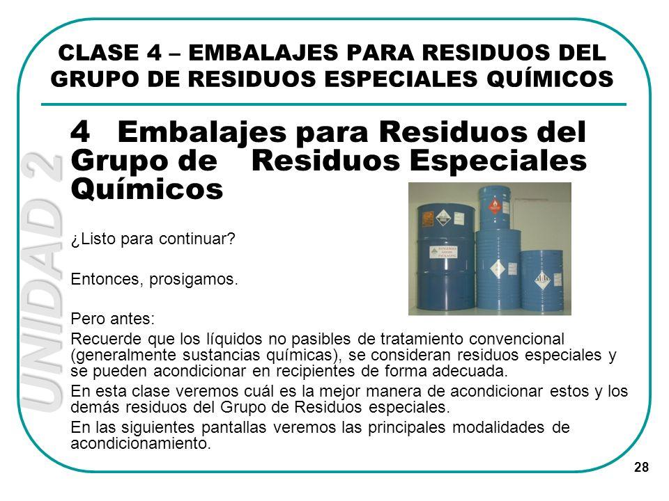 UNIDAD 2 28 CLASE 4 – EMBALAJES PARA RESIDUOS DEL GRUPO DE RESIDUOS ESPECIALES QUÍMICOS 4Embalajes para Residuos del Grupo de Residuos Especiales Quím