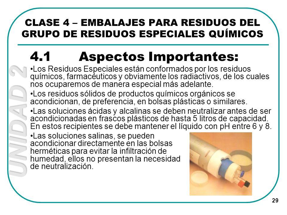 UNIDAD 2 29 4.1Aspectos Importantes: Los Residuos Especiales están conformados por los residuos químicos, farmacéuticos y obviamente los radiactivos,