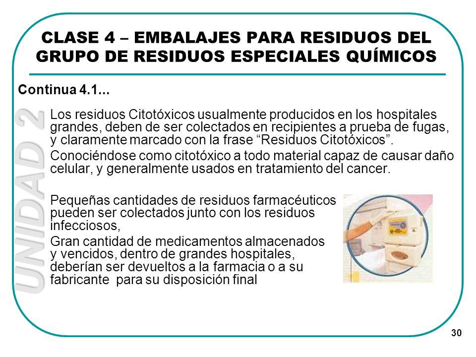 UNIDAD 2 30 Los residuos Citotóxicos usualmente producidos en los hospitales grandes, deben de ser colectados en recipientes a prueba de fugas, y clar