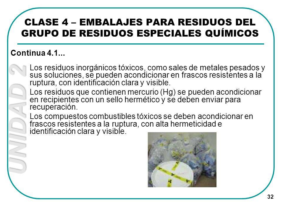 UNIDAD 2 32 Los residuos inorgánicos tóxicos, como sales de metales pesados y sus soluciones, se pueden acondicionar en frascos resistentes a la ruptu