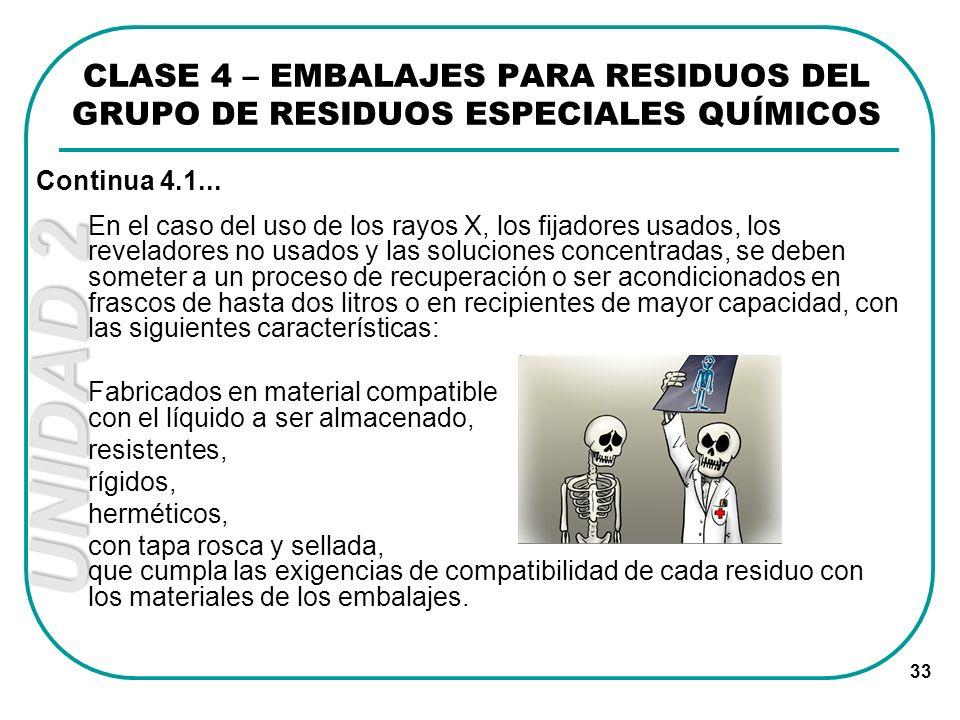 UNIDAD 2 33 En el caso del uso de los rayos X, los fijadores usados, los reveladores no usados y las soluciones concentradas, se deben someter a un pr