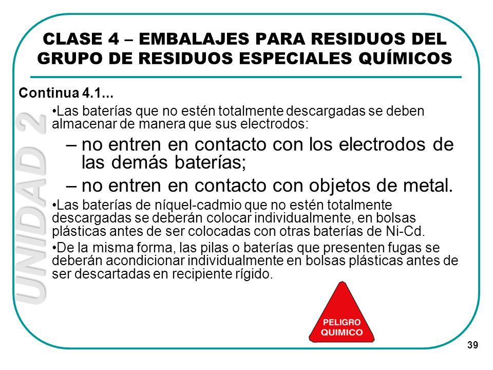 UNIDAD 2 39 Las baterías que no estén totalmente descargadas se deben almacenar de manera que sus electrodos: –no entren en contacto con los electrodo