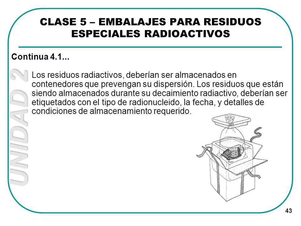 UNIDAD 2 43 Los residuos radiactivos, deberían ser almacenados en contenedores que prevengan su dispersión. Los residuos que están siendo almacenados