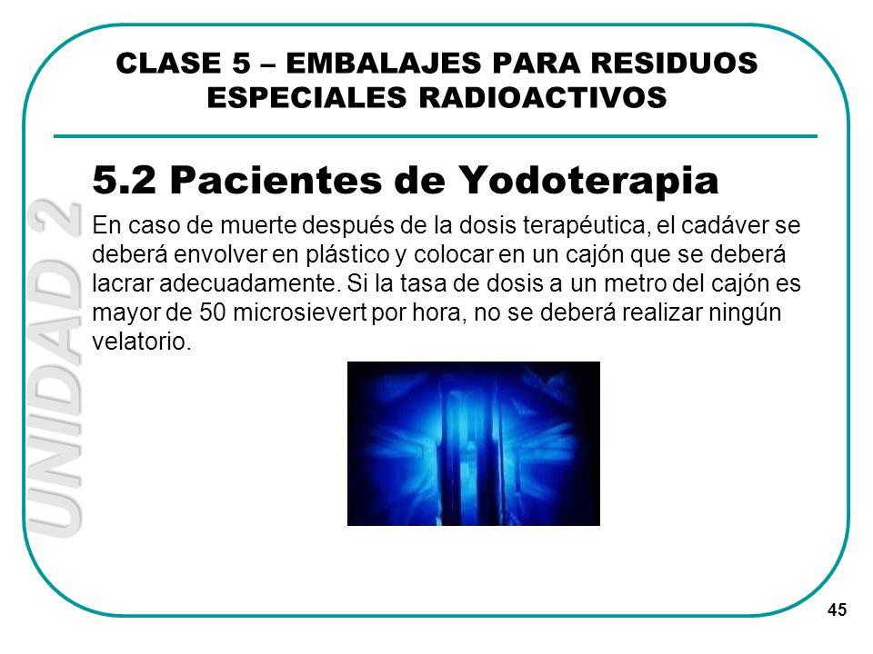 UNIDAD 2 45 5.2 Pacientes de Yodoterapia En caso de muerte después de la dosis terapéutica, el cadáver se deberá envolver en plástico y colocar en un