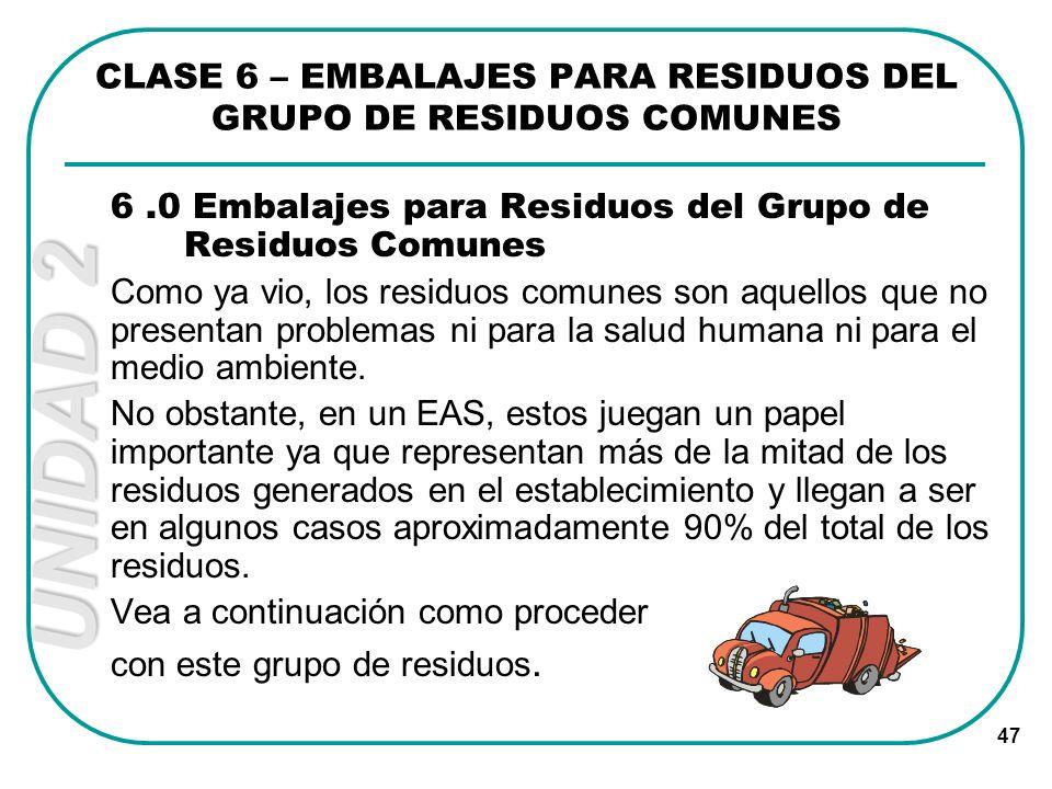 UNIDAD 2 47 CLASE 6 – EMBALAJES PARA RESIDUOS DEL GRUPO DE RESIDUOS COMUNES 6.0 Embalajes para Residuos del Grupo de Residuos Comunes Como ya vio, los