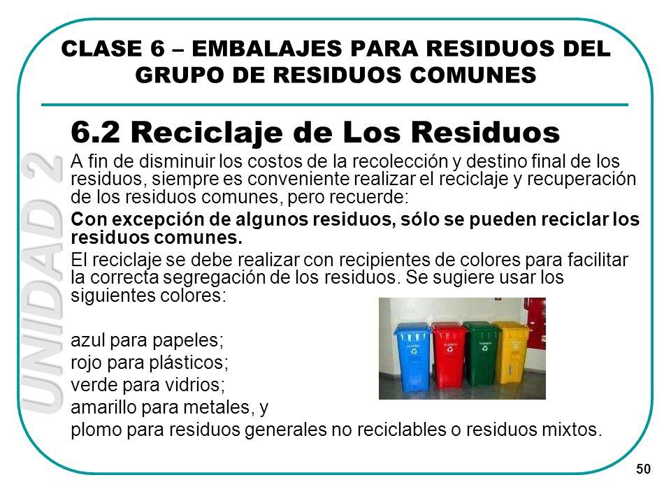 UNIDAD 2 50 6.2 Reciclaje de Los Residuos A fin de disminuir los costos de la recolección y destino final de los residuos, siempre es conveniente real