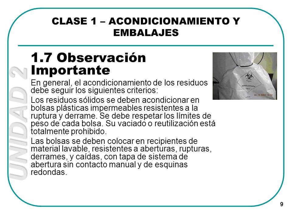 UNIDAD 2 9 1.7 Observación Importante En general, el acondicionamiento de los residuos debe seguir los siguientes criterios: Los residuos sólidos se d