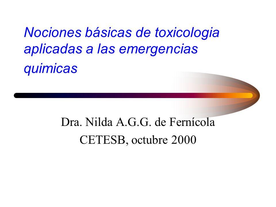 Nociones básicas de toxicologia aplicadas a las emergencias quimicas Dra.