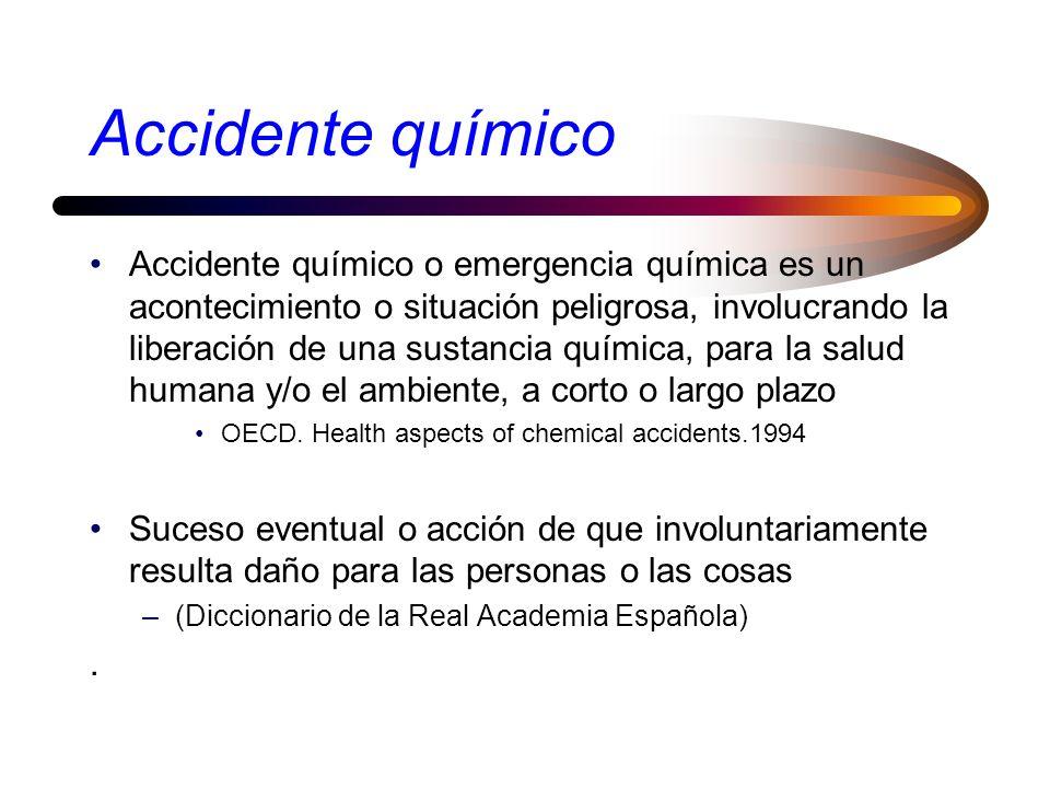 Accidente químico Accidente químico o emergencia química es un acontecimiento o situación peligrosa, involucrando la liberación de una sustancia química, para la salud humana y/o el ambiente, a corto o largo plazo OECD.
