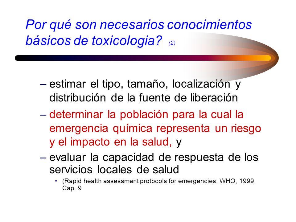 Por qué son necesarios conocimientos básicos de toxicologia? Para atender los objetivos de la evaluación para la salud de las emergencias químicas, em