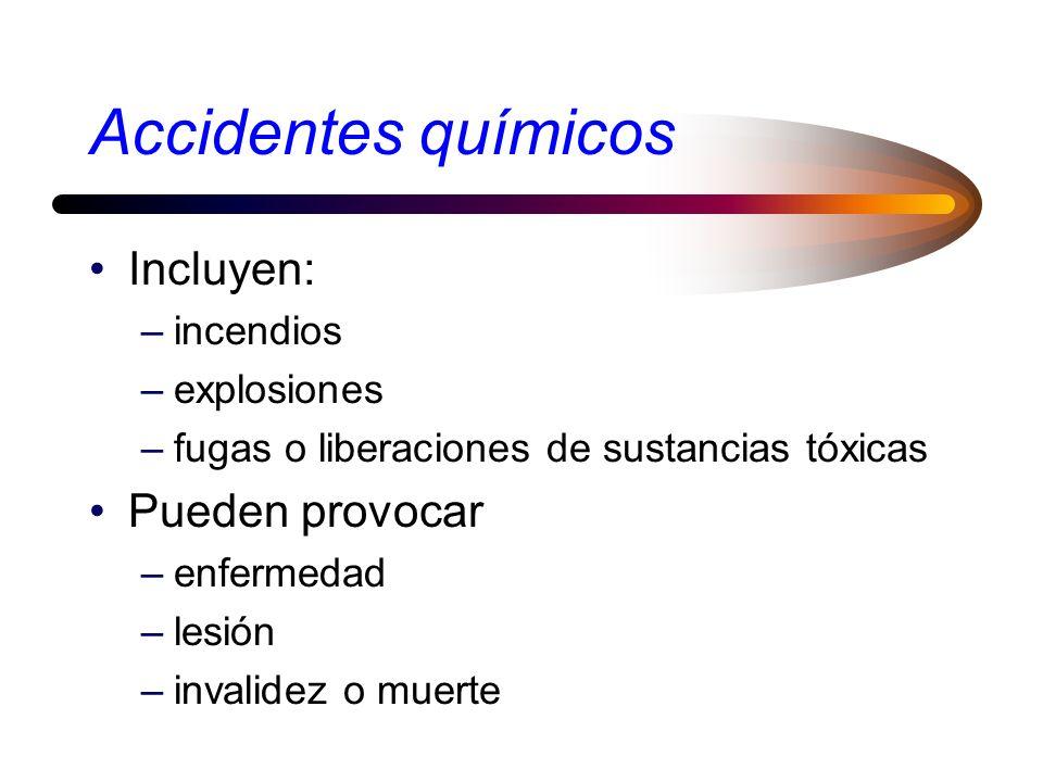 Accidentes químicos Incluyen: –incendios –explosiones –fugas o liberaciones de sustancias tóxicas Pueden provocar –enfermedad –lesión –invalidez o muerte