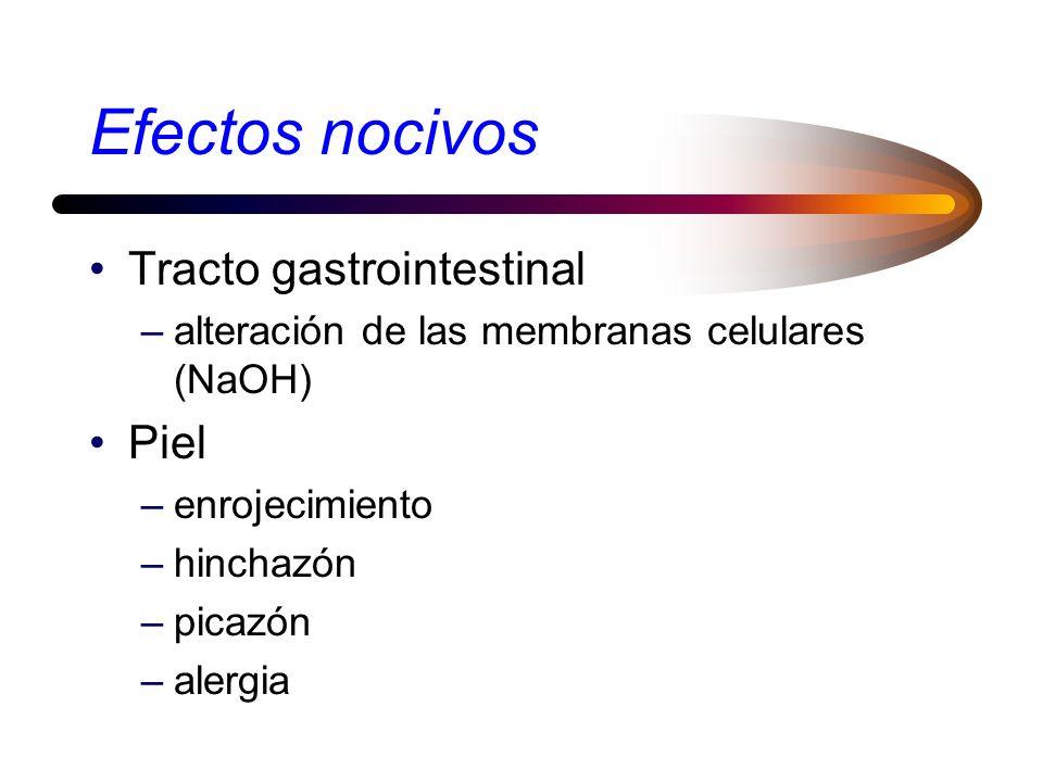 Efectos nocivos Sistema respiratorio –daño en las células del tracto respiratorio –enfisema –ìrritación –constricción de los bronquios –disnea –alergi