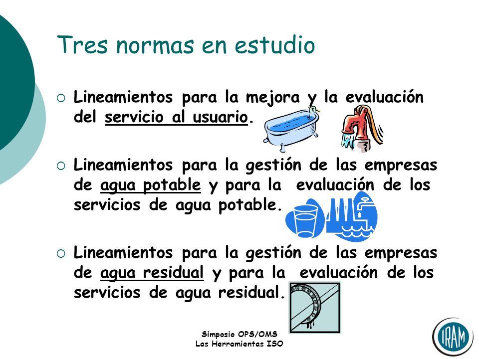 Simposio OPS/OMS Las Herramientas ISO Tres normas en estudio Lineamientos para la mejora y la evaluación del servicio al usuario. Lineamientos para la