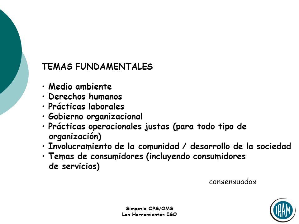 Simposio OPS/OMS Las Herramientas ISO TEMAS FUNDAMENTALES Medio ambiente Derechos humanos Prácticas laborales Gobierno organizacional Prácticas operac