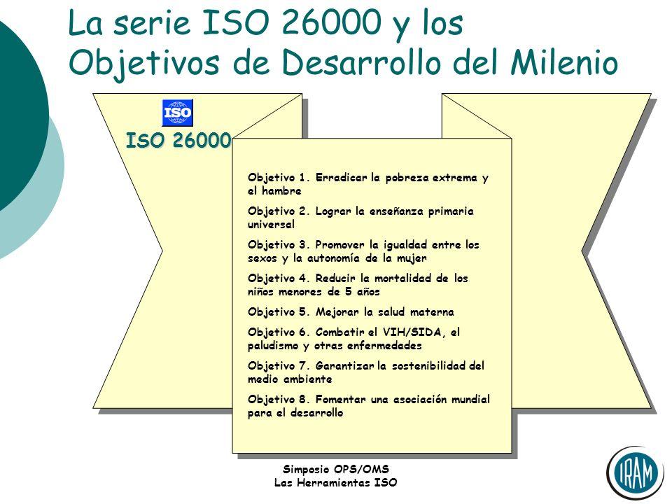 Simposio OPS/OMS Las Herramientas ISO La serie ISO 26000 y los Objetivos de Desarrollo del Milenio Objetivo 1. Erradicar la pobreza extrema y el hambr